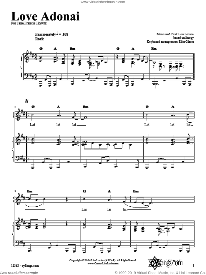 Love Adonai sheet music for voice, piano or guitar by Lisa Levine. Score Image Preview.