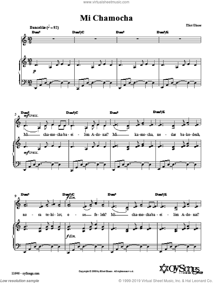 Mi Chamocha sheet music for voice, piano or guitar by Eliot Glaser