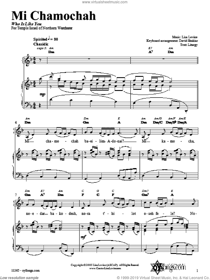 Mi Chamochah sheet music for voice, piano or guitar by Lisa Levine. Score Image Preview.