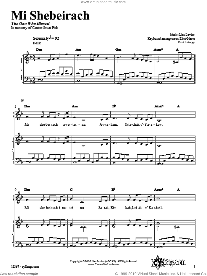 Mi Shebeirach sheet music for voice, piano or guitar by Lisa Levine. Score Image Preview.