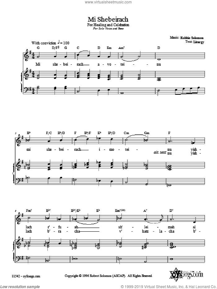 Mi Shebeirach sheet music for voice, piano or guitar by Robbie Solomon. Score Image Preview.