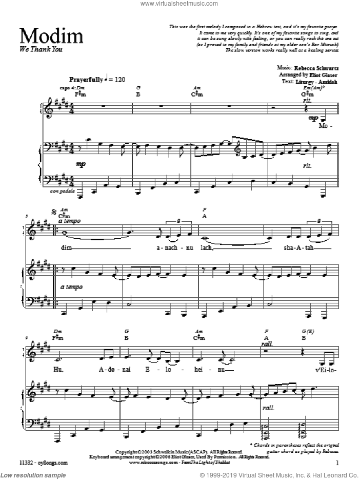 Modim sheet music for voice, piano or guitar by Rebecca Schwartz. Score Image Preview.
