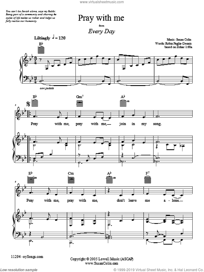Pray With Me sheet music for voice, piano or guitar by Susan Colin