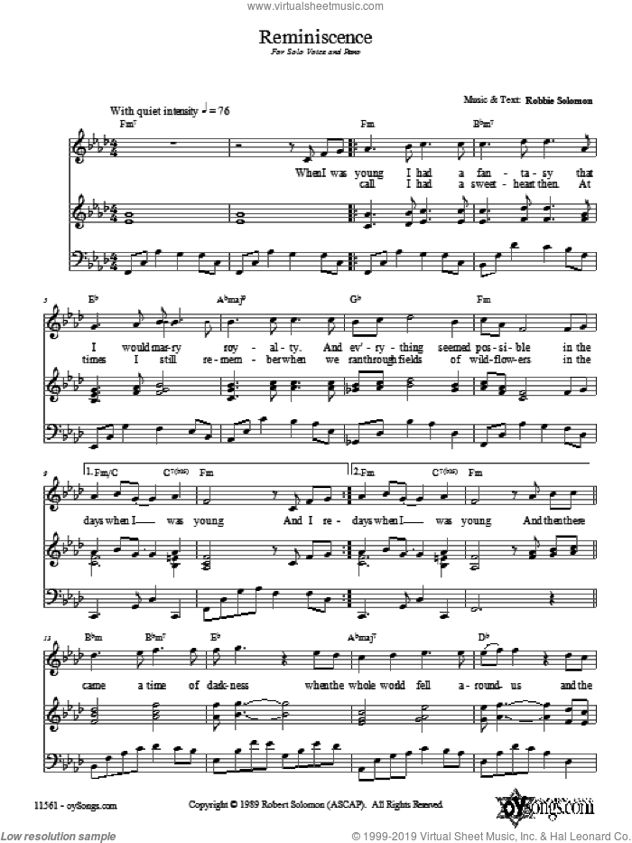 Reminscence sheet music for voice, piano or guitar by Robbie Solomon. Score Image Preview.