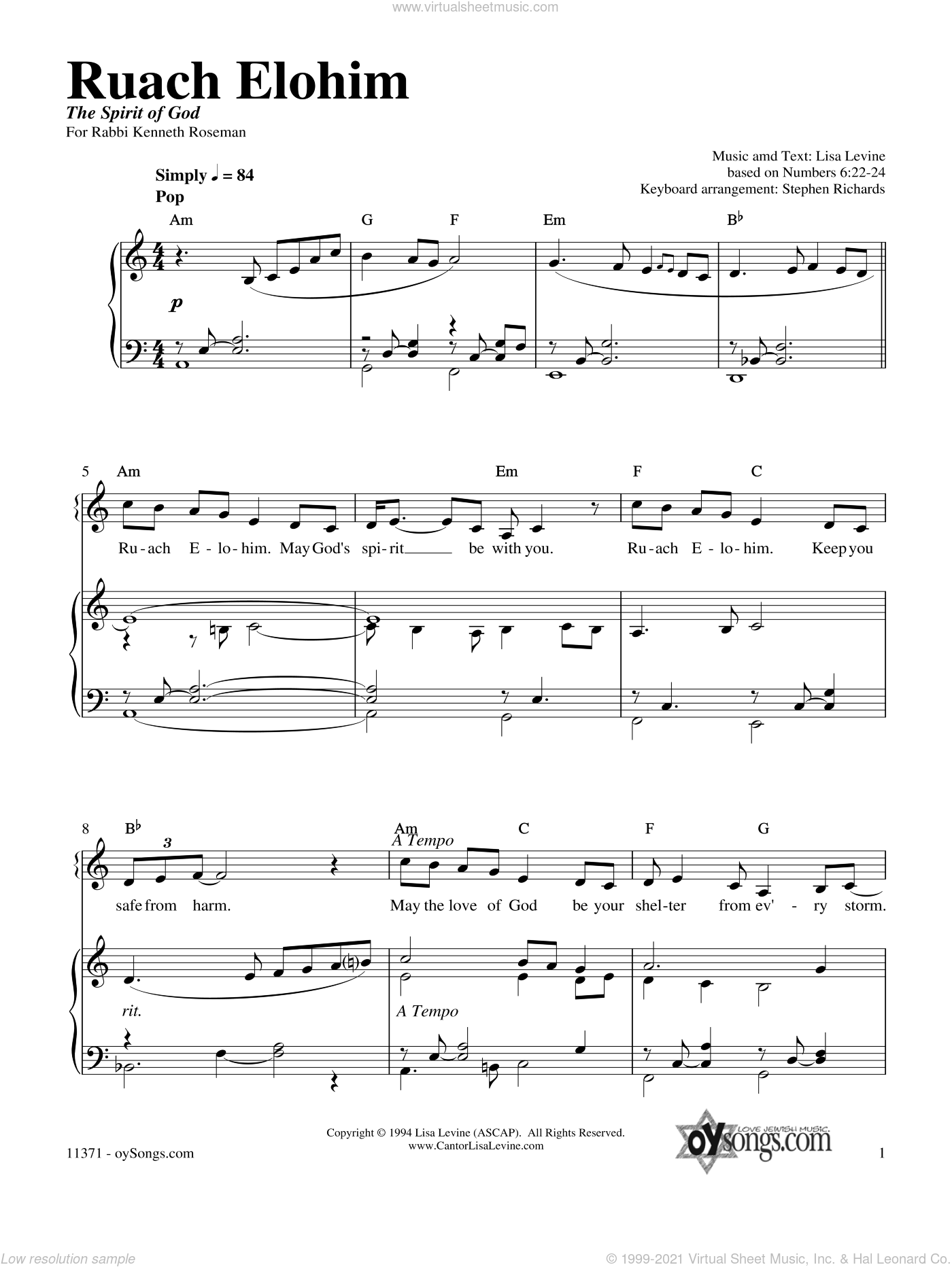 Ruach Elohim sheet music for voice, piano or guitar by Lisa Levine. Score Image Preview.