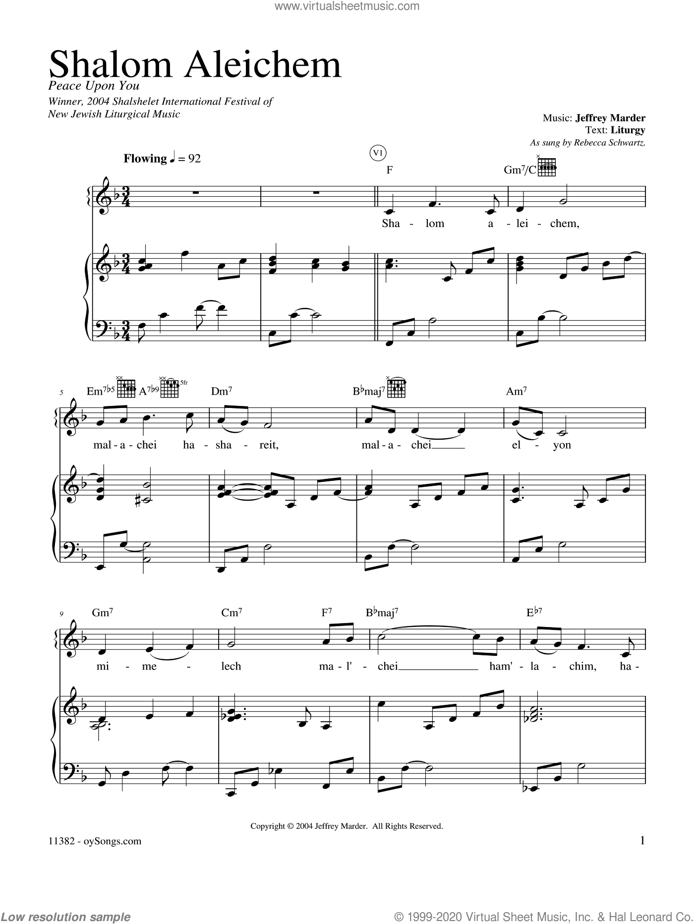 Shalom Aleichem sheet music for voice, piano or guitar by Jeff Marder and Rebecca Schwartz. Score Image Preview.