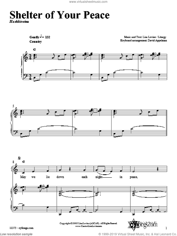 Shelter of Your Peace sheet music for voice, piano or guitar by Lisa Levine, intermediate