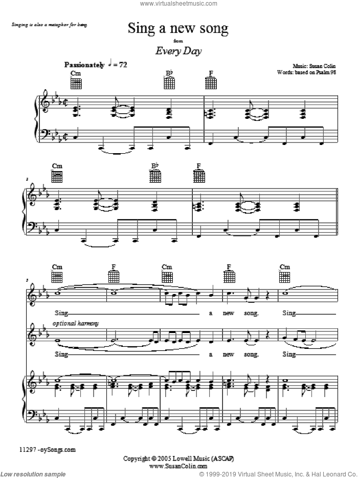 Sing a New Song sheet music for voice, piano or guitar by Susan Colin. Score Image Preview.