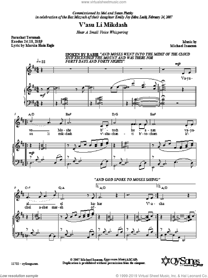 V'asu Li Mikdash (Hear a Small Voice Whispering) sheet music for voice, piano or guitar by Marcia Hain Engle