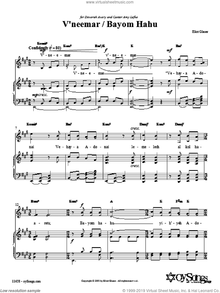 V'neemar / Bayom Hahu sheet music for voice, piano or guitar by Eliot Glaser. Score Image Preview.