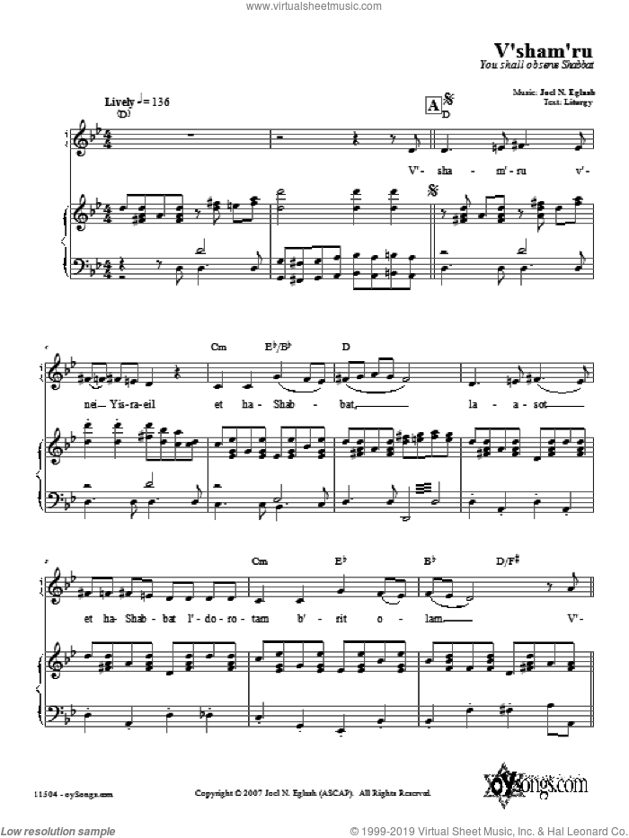 V'sham'ru sheet music for voice, piano or guitar by Joel N. Eglash. Score Image Preview.