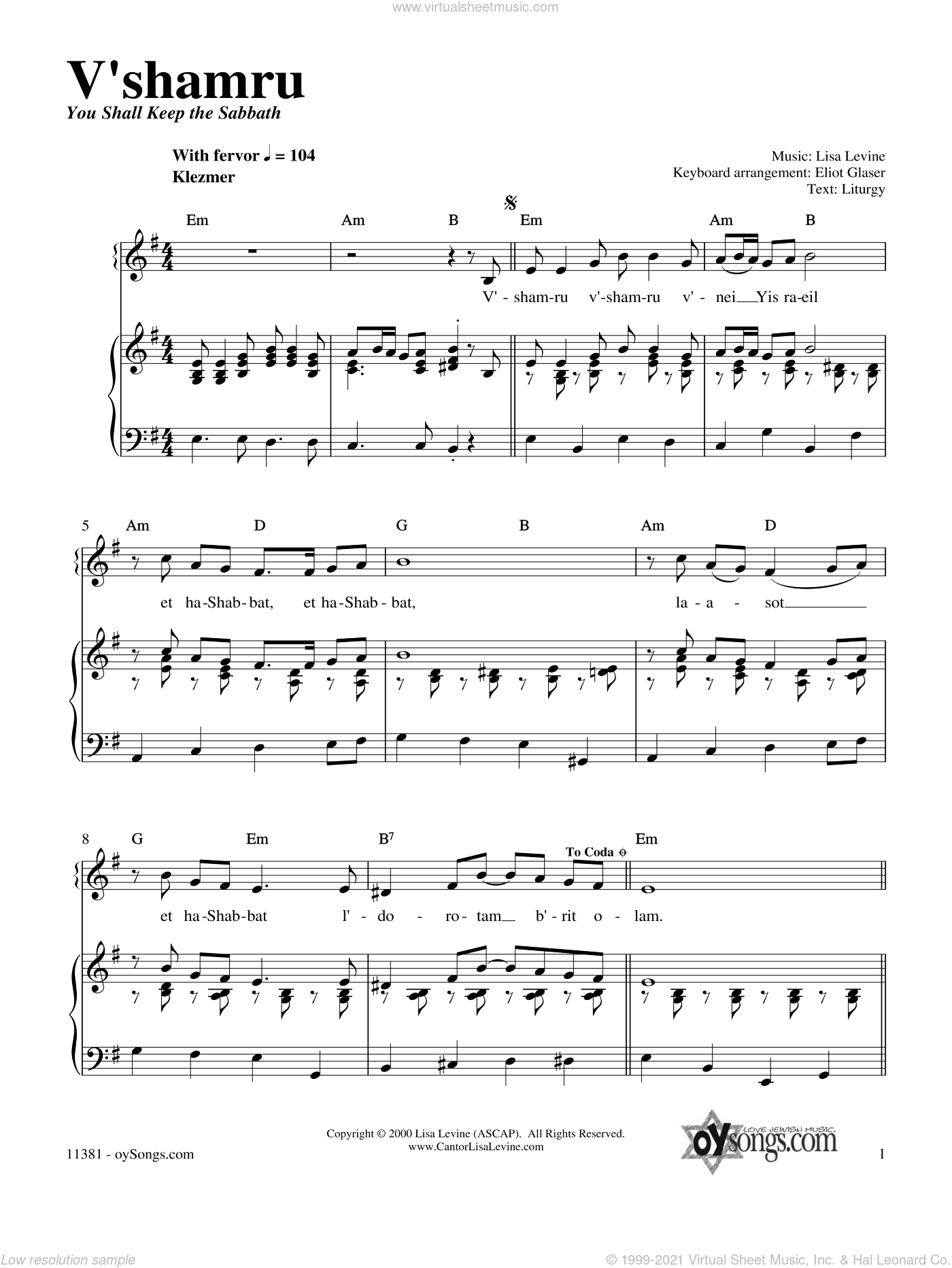 V'shamru sheet music for voice, piano or guitar by Lisa Levine