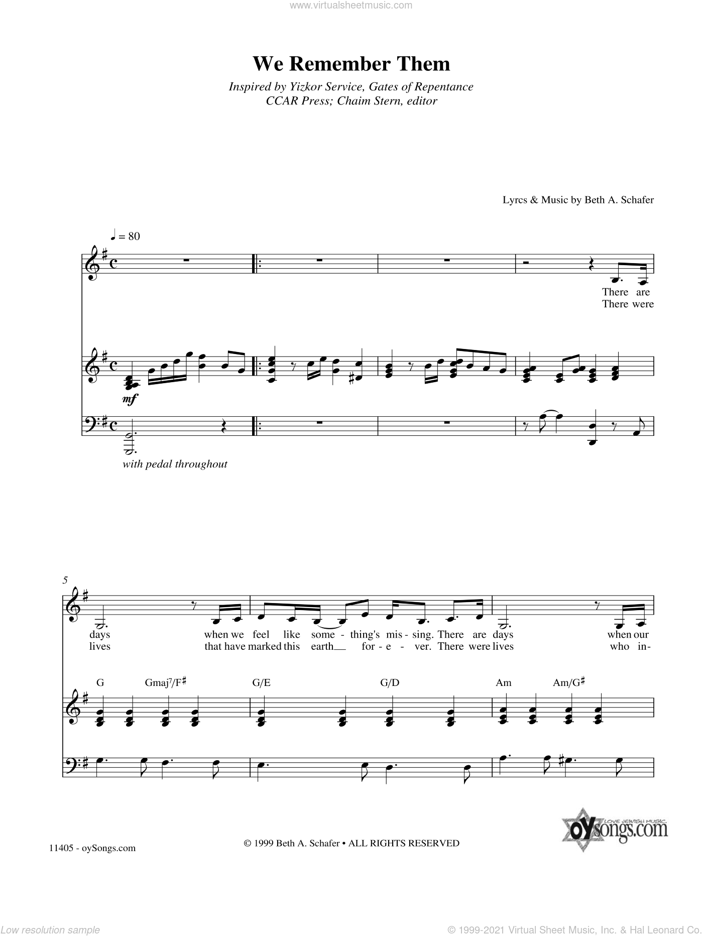 We Remember Them sheet music for voice, piano or guitar by Beth Schafer