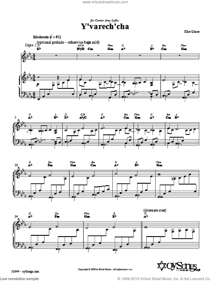 Y'varech'cha sheet music for voice, piano or guitar by Eliot Glaser, intermediate. Score Image Preview.
