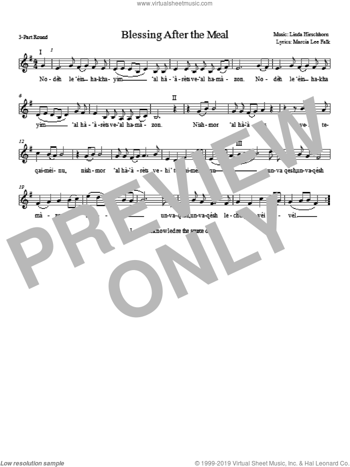 Blessing After the Meal sheet music for choir and piano (chamber ensemble) by Linda Hirschhorn. Score Image Preview.