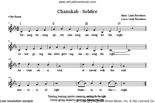 Chanukah - Solstice sheet music for choir (chamber ensemble) by Linda Hirschhorn. Score Image Preview.