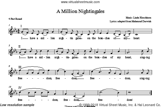 I Have a Million Nightingales sheet music for choir and piano (chamber ensemble) by Linda Hirschhorn. Score Image Preview.