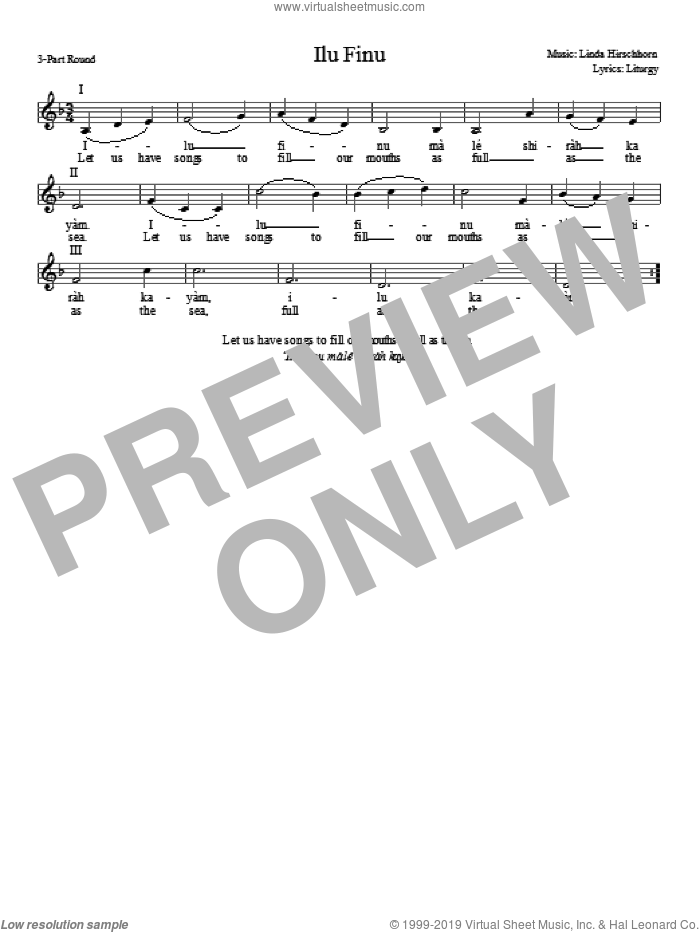 Ilu Finu sheet music for choir and piano (chamber ensemble) by Linda Hirschhorn
