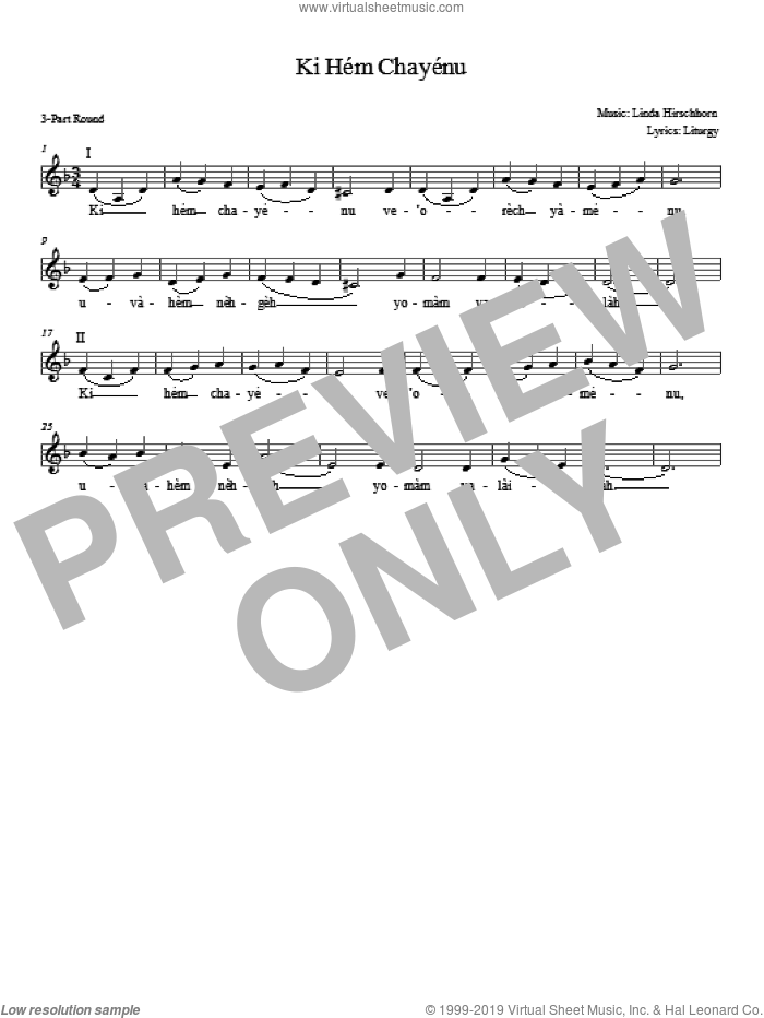 Ki Hem Khayenu sheet music for choir and piano (chamber ensemble) by Linda Hirschhorn
