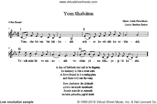 Yom Shabbaton sheet music for choir (2-Part, 3-Part Mixed) by Linda Hirschhorn, intermediate. Score Image Preview.