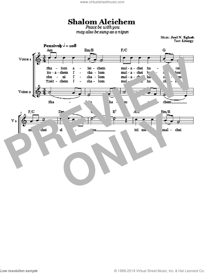 Shalom Aleichem (Peace Be With You) sheet music for choir (duets) by Joel N. Eglash. Score Image Preview.