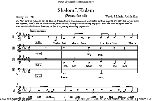 Shalom L'kulam sheet music for choir and piano (4-Part) by Judith Silver