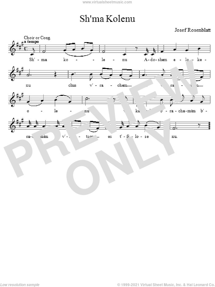 Sh'ma Kolenu sheet music for choir and piano (voice) by Yossele Rosenblatt