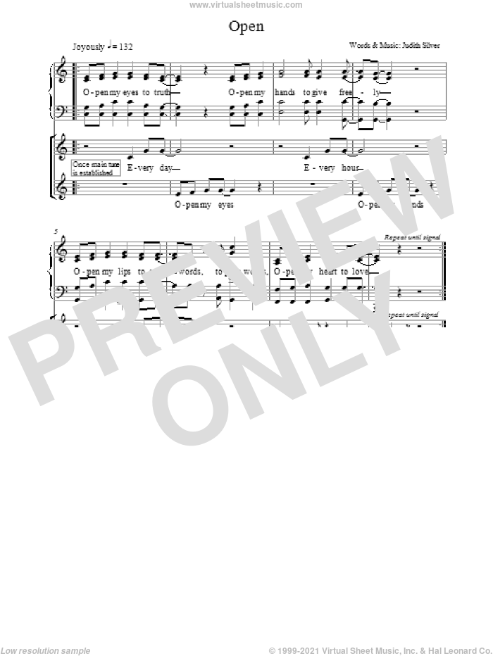 Open sheet music for choir and piano (Mixed ) by Judith Silver