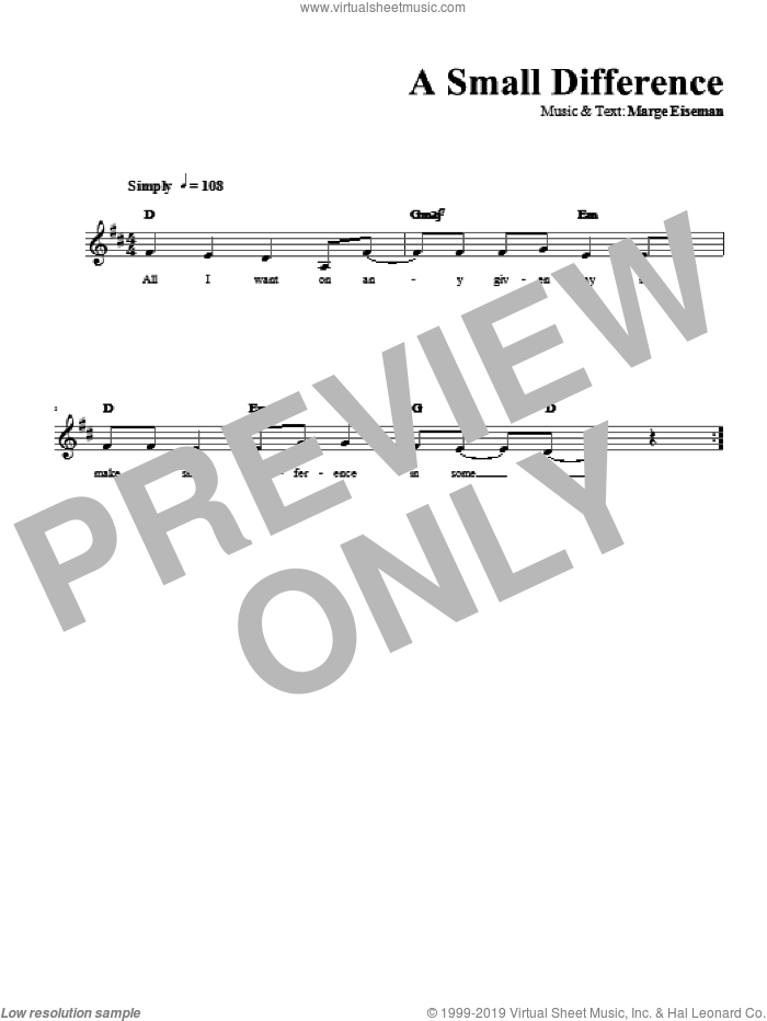 A Small Difference sheet music for voice and other instruments (fake book) by Marge Eiseman. Score Image Preview.