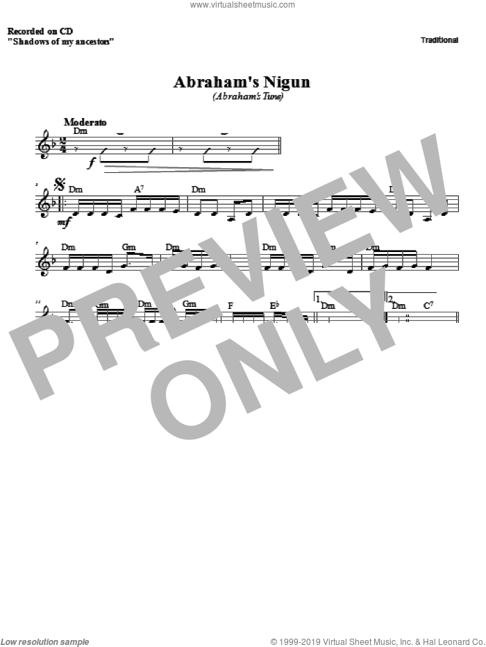 Abraham's Nigun sheet music for voice and other instruments (fake book) by Zinovy Goro. Score Image Preview.