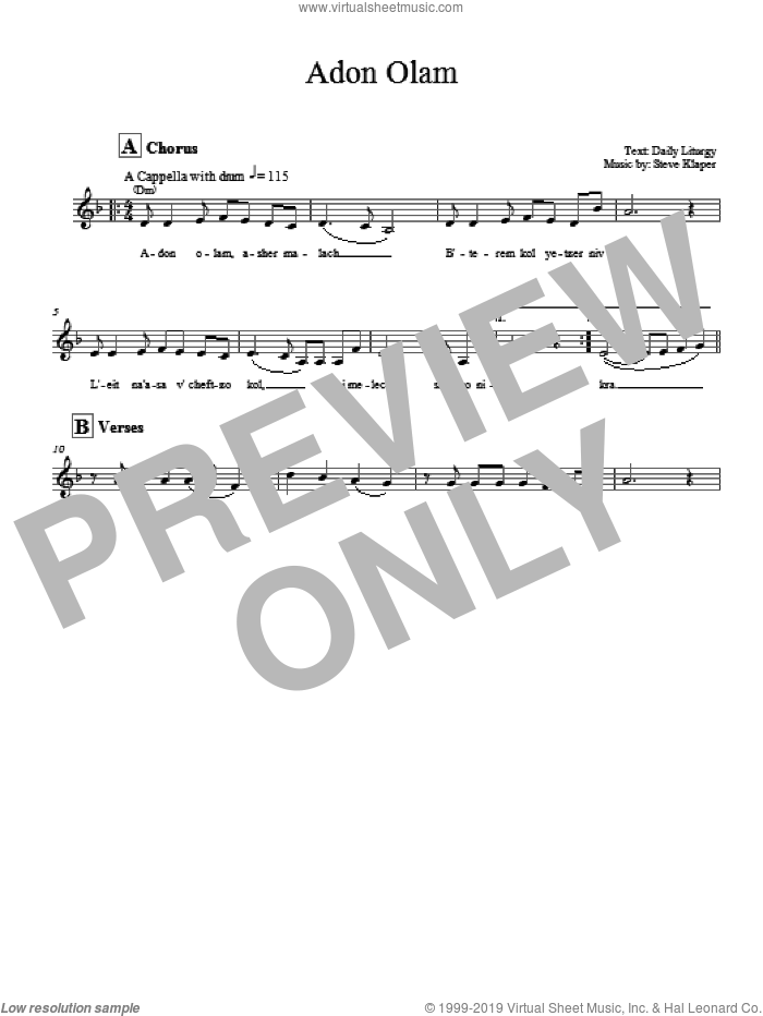 Adon Olam sheet music for voice and other instruments (fake book) by Steve Klaper