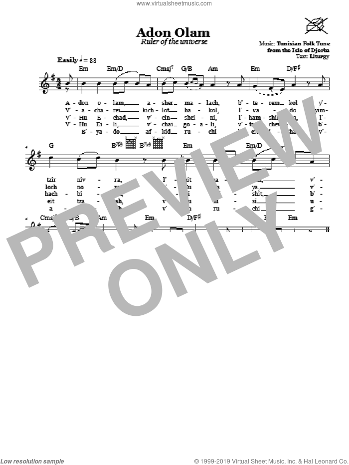Adon Olam (Ruler Of The Universe) sheet music for voice and other instruments (fake book), intermediate skill level