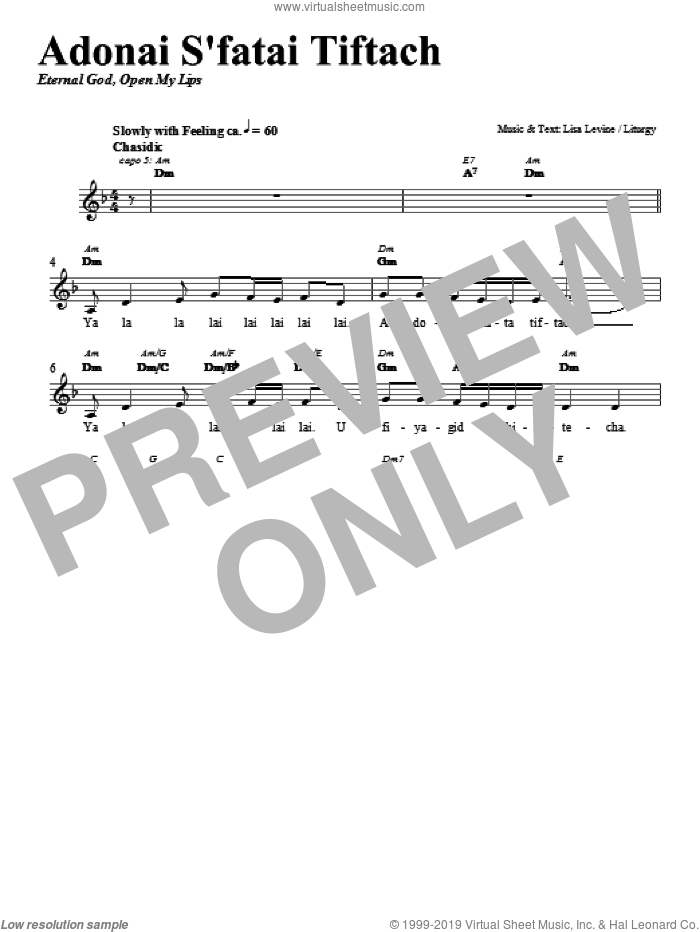 Adonai S'fatai Tiftach sheet music for voice and other instruments (fake book) by Lisa Levine