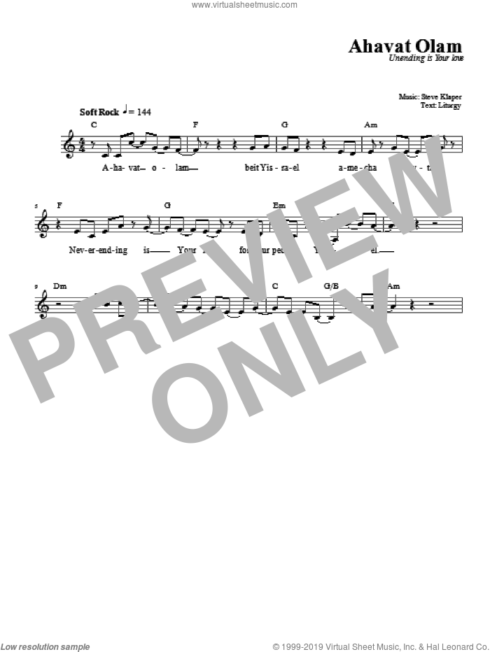 Ahavat Olam sheet music for voice and other instruments (fake book) by Steve Klaper. Score Image Preview.
