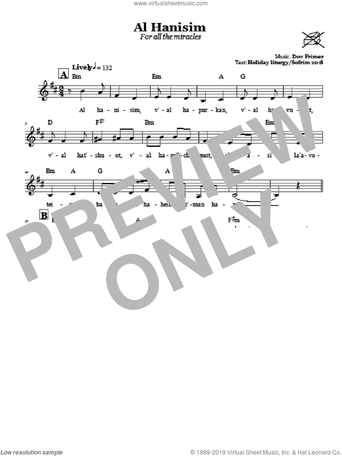 Al Hanisim (For All The Miracles) sheet music for voice and other instruments (fake book) by Dov Frimer, intermediate skill level