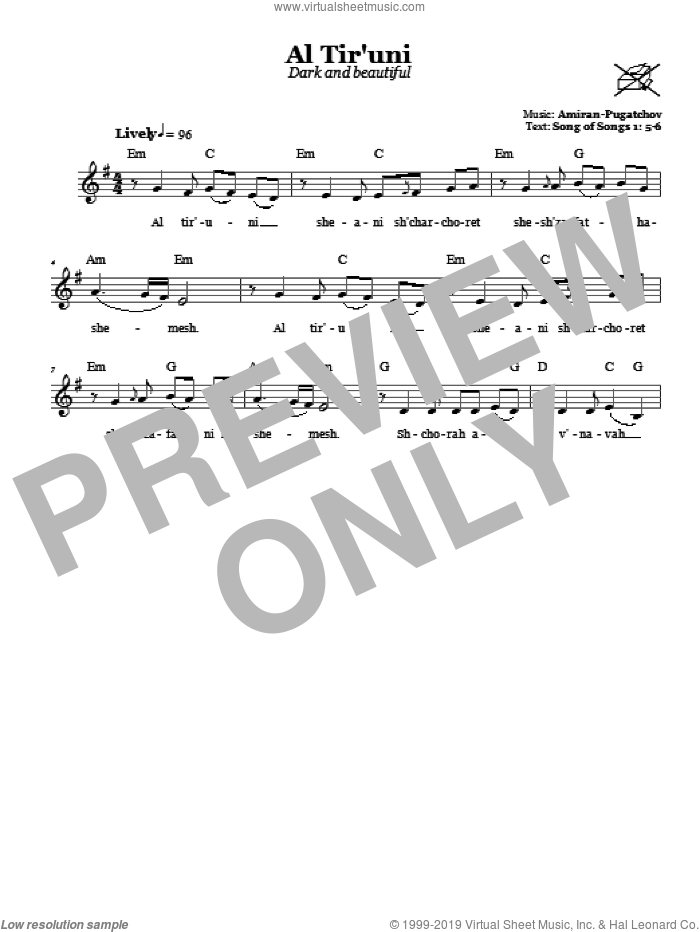Al Tir'uni (Dark And Beautiful) sheet music for voice and other instruments (fake book) by Amiran-Pugatchov. Score Image Preview.