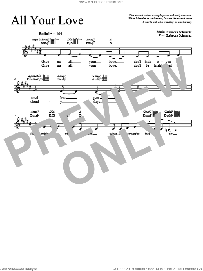 All Your Love sheet music for voice and other instruments (fake book) by Rebecca Schwartz, intermediate. Score Image Preview.