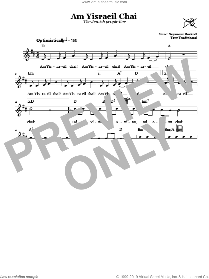 Am Yisraeil Chai (The Jewish People Live) sheet music for voice and other instruments (fake book) by Seymour Rockoff. Score Image Preview.