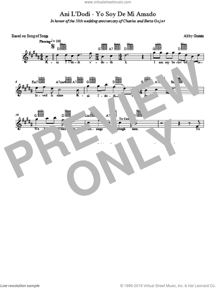 Ani L'dodi sheet music for voice and other instruments (fake book) by Abby Gostein. Score Image Preview.