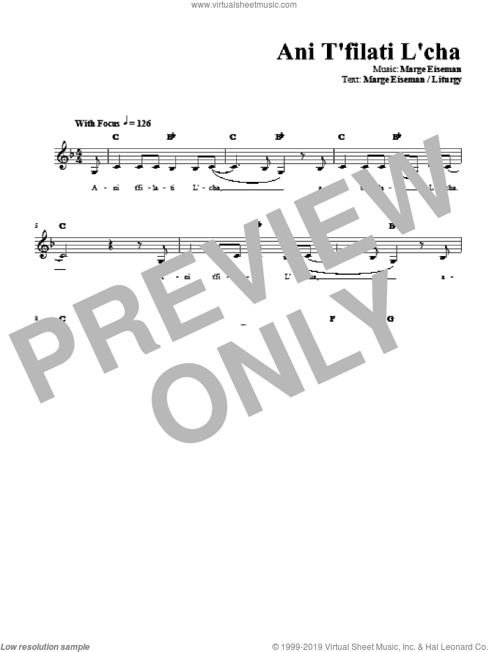 Ani T'filati L'cha sheet music for voice and other instruments (fake book) by Marge Eiseman. Score Image Preview.