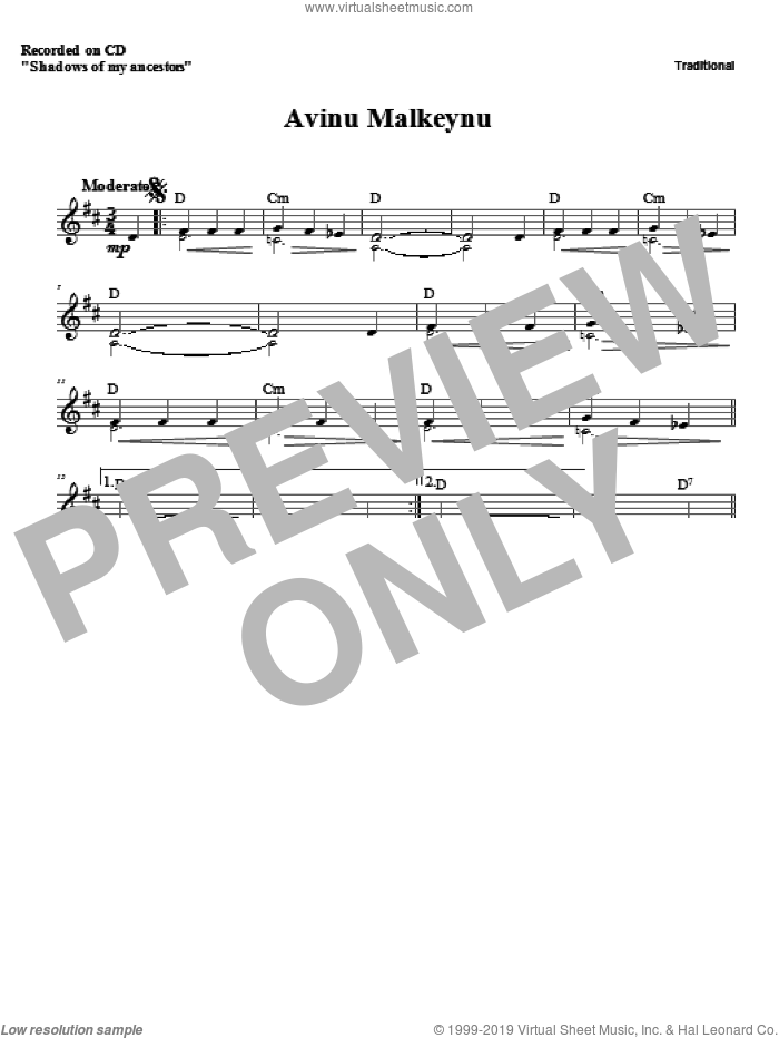 Avinu Malkeynu sheet music for voice and other instruments (fake book) by Zinovy Goro