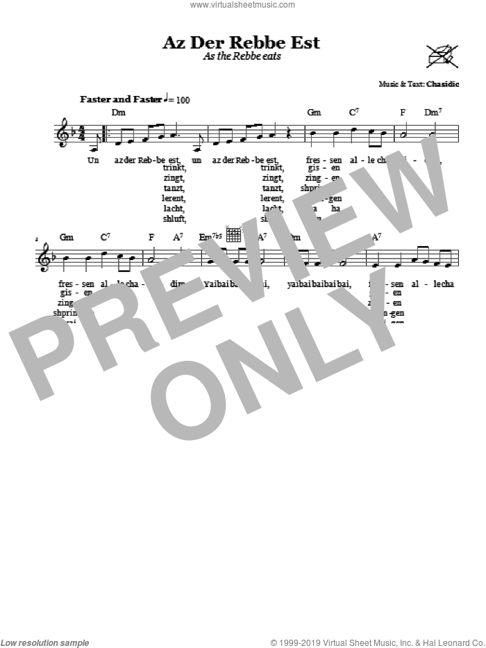 Az Der Rebbe Est (As The Rebbe Eats) sheet music for voice and other instruments (fake book) by Chasidic. Score Image Preview.