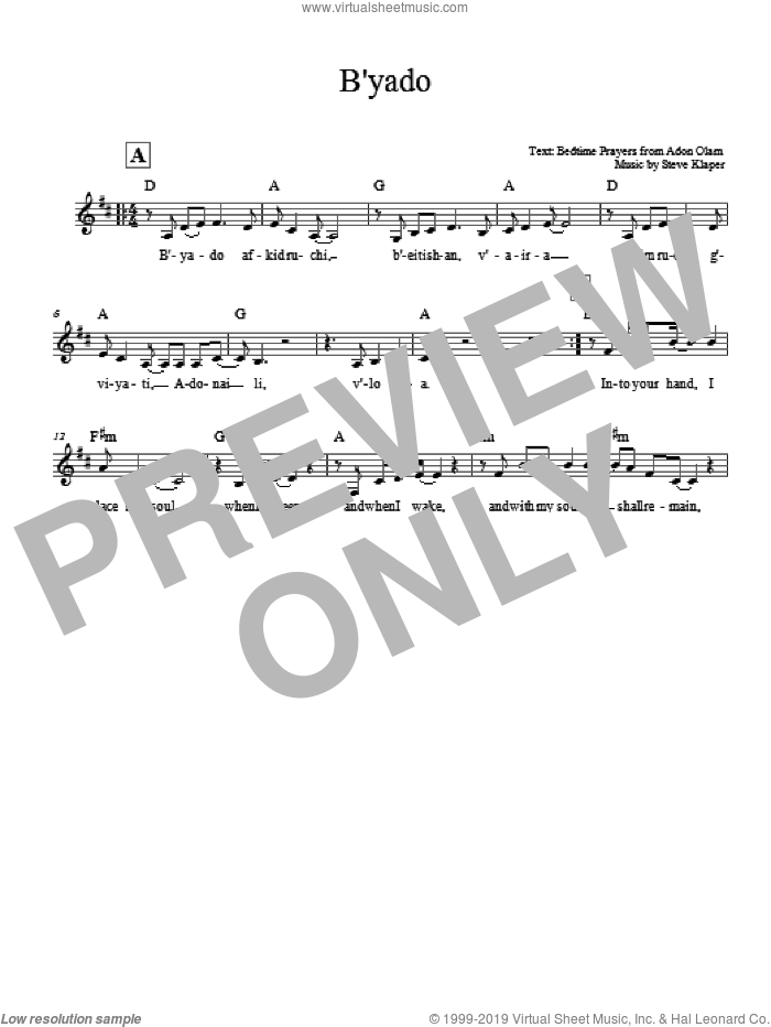 B'yado sheet music for voice and other instruments (fake book) by Steve Klaper, intermediate voice. Score Image Preview.
