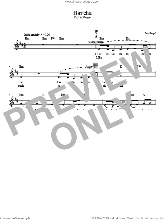 Bar'chu sheet music for voice and other instruments (fake book) by Ben Siegel. Score Image Preview.