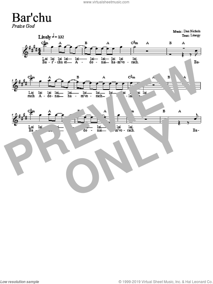 Bar'chu sheet music for voice and other instruments (fake book) by Dan Nichols. Score Image Preview.