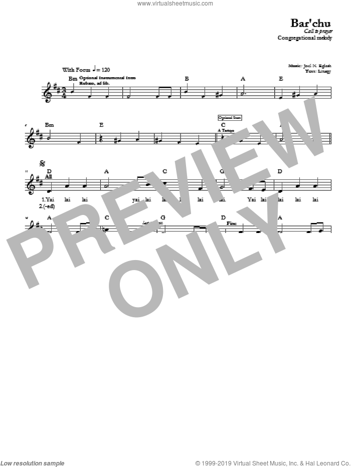 Bar'chu sheet music for voice and other instruments (fake book) by Joel N. Eglash. Score Image Preview.