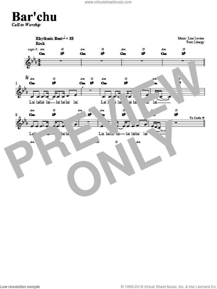 Bar'chu sheet music for voice and other instruments (fake book) by Lisa Levine. Score Image Preview.