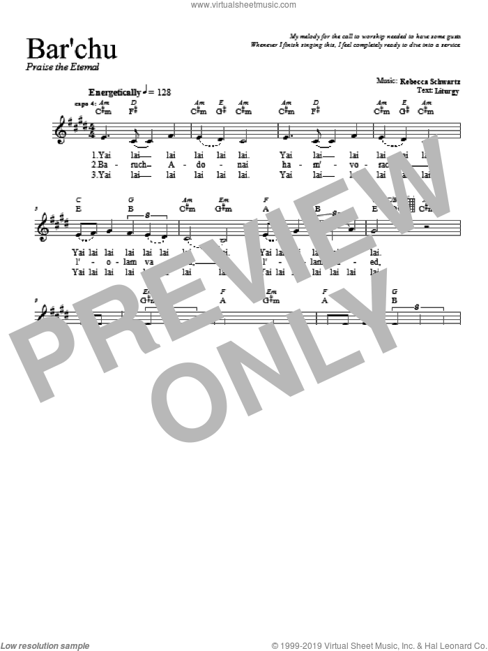 Bar'chu sheet music for voice and other instruments (fake book) by Rebecca Schwartz. Score Image Preview.