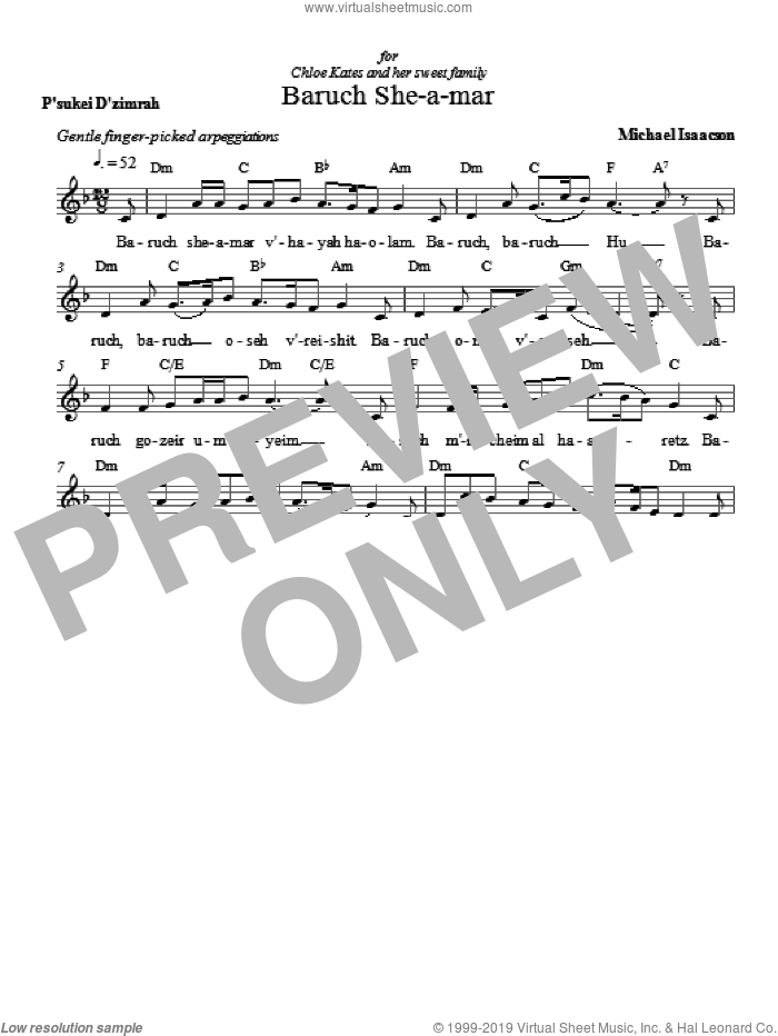 Baruch She-a-mar sheet music for voice and other instruments (fake book) by Michael Isaacson. Score Image Preview.