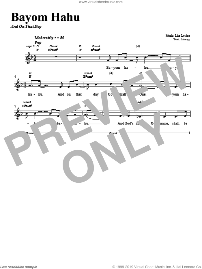 Bayom Hahu sheet music for voice and other instruments (fake book) by Lisa Levine. Score Image Preview.